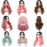 Wholesale anime hottest girl for sale - Group buy Hot long curly hair wigs Europe and America cosplay wig female middle color dyed hair set anime party chemical fiber A03