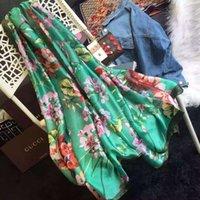 lenços de seda rosa verde venda por atacado-409677 3G001 6465 Mulher do outono Impressão Carta algodão 100% Silk Scarf envoltório xale Flores Birds lenços longa 180 * 70CM verde rosa