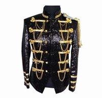 ingrosso decorazione di affari-2019 marca Moda Uomo autunno Paillettes decorazione Bar uniforme / maschio sottile colore puro Leisure suit giacca sportiva giacche