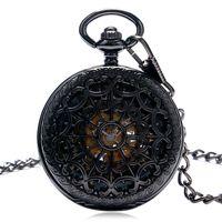 steampunk watch mekanik toptan satış-Siyah Tam Çelik El Sarma Mekanik Pocket Saat Steampunk Örümcek Web Vaka İskelet kolye Zinciri Saatler Hediye