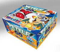 oyuncakları bir araya getirmek toptan satış-Pikachu Anime Çizgi Oyuncak 36 adet / set LA137 Şekil Doll Kart Etiketler Pet Pokeball PVC Sihirli Topu Bebek çocuklarla plastik topu araya