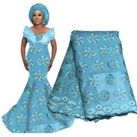 ingrosso tessuti di pizzo di nozze-Tessuto di pizzo perline nigeriane africane per matrimonio 2019 Tessuto di lacci da sposa Tessuto di pizzo svizzero francese blu viola con perline