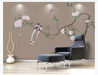 chinesische farbe stifte großhandel-Angepasste 3D Fototapete Tapete Neue handgemalte Blumen und Vögel im chinesischen Stil Stifte Blumen und Vögel HD TV Hintergrund Wandmalerei