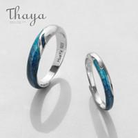 brillar joyas brillantes al por mayor-Anillo circular de plata thaya El brillo brillante río anillos de esmeraldas s925 azul suave joyería romántica para mujeres simple elegante del regalo