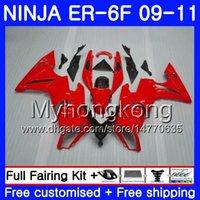 kit corps er6 f achat en gros de-Body Factory rouge chaud Pour KAWASAKI NINJA 650R ER-6F ninja650 ER6F 09 10 11 252HM.21 Ninja650R ER6 F ER 6F 2009 2010 2011 Kit de carénage + 7jeux
