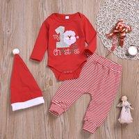 kırmızı bebek şapkası toptan satış-Bebek erkek kız giyim tulum + şerit pantolon + şapka 3-piece set kırmızı benim ilk Noel pamuk kıyafetler giysi 0-24 M