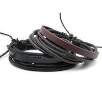 Wholesale leather bracelet stock resale online - 2019 Men s Trendy Leather Wrap Hemp Bracelets Vintage Real Leather Wristband Rope Chain Bracelets Jewelry Accessories Black Brown Stock