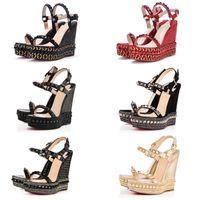 kadın sandaletleri toptan satış-Seksi Kadınlar Yüksek Topuklu Kırmızı Alt Cataclou Çiviler Kama Platformu Sandalet Moda Bayanlar Kama Cataclou Sandalet Spike Perçinler Çivili Ayakkabı