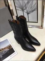 tam tahıllı deri ayakkabılar toptan satış-Tam Tahıl Deri Inek Yarım Çizmeler 5.5 cm yüksek topuk Tasarımcı Marka Bayan Orta Çizmeler Ayakkabı