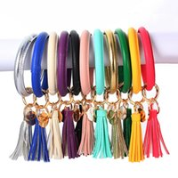 Wholesale tassel key chains resale online - Leather Bracelet Key Chain PU Wristr Round Key Ring Tassel Pendant Wristbands Sports Keychain Bracelets Round Key Rings LJJA3022