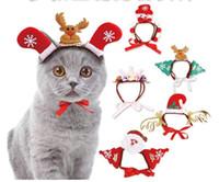 şapka saç süslemeleri toptan satış-Pet Köpekler Aksesuarları Noel Elk Kardan Adam Kafa Bandı Süslemeleri Köpek Taç Şapka Bandı Noel pet Saç Aksesuarları MMA1033 P