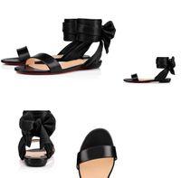 ingrosso cunei di prua neri-Summer Ladies Red Bottom Wedge look minimalista ed elegante, nero con cinturino alla caviglia in satin aperto.Sandal With Bow EU35-42