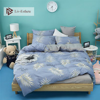 dessus de lit gris bleu achat en gros de-Liv-Esthete Blue couvre-lit feuille Ensemble de literie Decor Home Bedroom Grey Flat Sheet Taie d'oreiller Double Adult Comfort Comfort Housse de couette