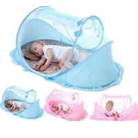 moskitonetz großhandel-0-3 Jahre Krippe Baby Bettwäsche Moskitonetz Tragbare Faltbare Babybett Krippe Moskitonetz Baumwolle Schlaf Reisebett Set