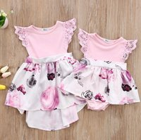 Wholesale big sister clothing for sale - Group buy Floral Lace Sleeve Rompers Dress Little Big Sisters Matching Outfits Toddler Kids Girl Newborn Baby Sisters Sundress Clothes