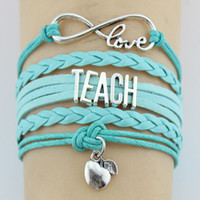 bracelets personnalisés achat en gros de-10 PC / Lot Infinity Amour Enseigner Enseignant Pommes Charm Wrap Bracelet Multicouche En Cuir Personnalisé Cadeaux Femmes Hommes Bracelets Bijoux
