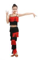 traje de flecos de las niñas al por mayor-Vestido de baile latino para niñas Salón de baile de adultos Borla Fringe Tops Pantalones Salsa Samba Disfraz Niños Niños Baile Concurso de disfraces