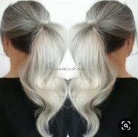 Wholesale silver blonde hair resale online - Silver grey human hair pony tail hairpiece wrap around Dye free natural hightlight blonde white gray hair ponytail