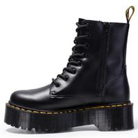 zapatos con cordones para mujer al por mayor-Tacón grueso Mujer martin boots botines botas de cuero genuino suela muscular de vaca cordones botas de tacón grueso para damas zy8472