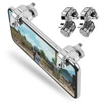 mejor controlador android al por mayor-Metal Smart Phone Mobile Gaming Trigger para PUBG Juego móvil Botón de disparo Tecla de objetivo L1R1 Controlador de disparos
