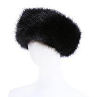diademas de piel para mujer al por mayor-10 colores para mujer Faux Fur Diadema de lujo ajustable de invierno cálido negro blanco naturaleza niñas piel Earwarmer orejeras sombreros para mujeres