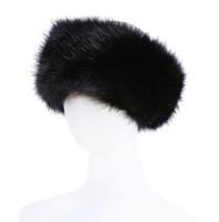меховые повязки для женщин оптовых-10 цветов женщин искусственного меха оголовье роскошные регулируемая зима теплая черный белый природа девушки мех Earwarmer наушник шляпы для женщин