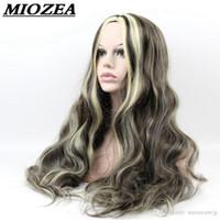 perucas douradas escuras venda por atacado-O cabelo longo ondulado peruca sintética peruca de cabelo de alta temperatura fibra 60 centímetros Dark Brown / Golden For Women Wigs