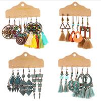 Wholesale geometric earrings resale online - Women Bohemian Ethnic Style Earrings Braided Tassel Earrings Geometric Dangle Earrings Fashion Jewelry pairs set