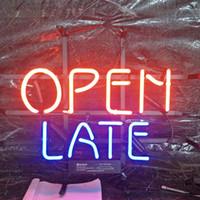 vidro tardio venda por atacado-OPEN LATE Sinal de Néon Bar Holiday Display de Publicidade Decoração Personalizado Montado Na Parede de Vidro Real de Luz Moldura de Metal 17 '' 20 '' 24 '' 30 ''