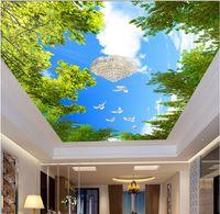 Wholesale vintage textiles resale online - WDBH d wallpaper custom photo Blue sky white clouds pigeon ceiling mural living room Home decor d wall murals wallpaper for walls d