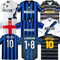 Wholesale finals MILITO SNEIJDER ZANETTI Retro Soccer jersey Pizarro Football MILAN Djorkaeff Baggio RONALDO Inter