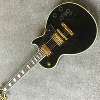 Wholesale custom guitar reissue for sale - Group buy Custom Limited Reissue P90 Pickup Black Electric Guitar Cream Ply Binding Mahogany Body Block MOP Fingerboard Inlay Gol