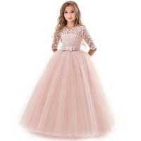 akşam partisi çocukları elbiseler toptan satış-Kızlar Akşam Parti Elbise Yaz Çocuklar Kızlar Için Elbiseler Çocuk Kostüm Zarif Prenses Elbise Çiçek Kız Gelinlik