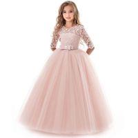 kind mädchen abendkleider großhandel-Mädchen Abendgesellschaft Kleid Sommer Kinder Kleider Für Mädchen Kinder Kostüm Elegante Prinzessin Kleid Blumenmädchen Hochzeitskleid