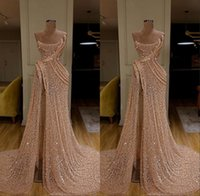 Wholesale robe soiree yellow for sale - Group buy New Arrival Long Train Gold Mermaid Evening Dresses High Split Evening Dress Formal Evening Gowns robe de soiree Abendkleider