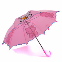 rosa kinder regenschirm großhandel-Heiße reizende Karikatur-hallo Miezekatze-Kinderanime-Regenschirm für Kind-Mädchen-nette rosafarbene Regenschirme Baby-Kursteilnehmer-Sonnenschirme T8190619