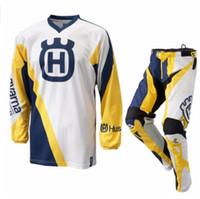Wholesale racing jersey motocross resale online - 2017 Men FOR Husqvarna Husky Style Motocross Suit Motobiker Racing Riding Jersey Pants Motorcycle MX riding combination