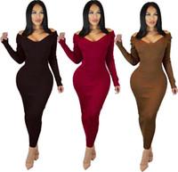 siyah bandaj midi elbise toptan satış-3 renk 2019 yeni siyah şarap Kırmızı kahverengi Kadınlar Örgü v boyun uzun kollu Ayak bileği-Uzunluk sırtı açık bandaj vestido moda elbiseler