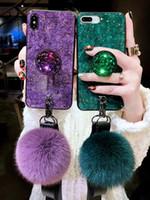 kristall für gehäuse telefon großhandel-S8plus s9plus fällen luxus diy kristall halter + fellknäuel + strap telefon case für samsung galaxy s8 s9 note 8 9 tpu bling funds coque