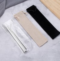 Wholesale giveaways sets for sale - Group buy Stainless Steel Straw Set Titanium plated Colored Metal Color Straight Pipe Bend Drink Giveaway Straw Customization EEA1249