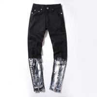 jeans de moda urbana venda por atacado-Ripped Knee Mens Jeans costura branca Impresso Moda Hip Hop Homens Motocicleta Urbano Aflição Motociclista Magro Skinny jeans preto