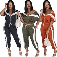 Wholesale green football jackets for sale - Group buy Womens Tracksuit Piece Set Outfits sportswear long sleeve Jogging Sports jacket leggings Suits clubwear hot selling women clothing klw2726