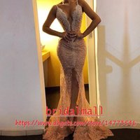 Wholesale vintage gold fashion pearl resale online - Spaghetti Beaded Pearls Lace Evening Dresses Mermaid Sexy Front Slit Formal Party Gowns Arabic Long Prom Dress Custom Vestido de fiesta