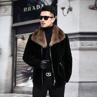 große haarkleider großhandel-2018 ein neuer Pelz Leder Pelzanzug, männliche Schafschur, Herrenmantel kurz, großer Waschbärenhaarkragen P830