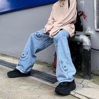 şişkin baskılı kot pantolon toptan satış-Adam Gevşek Jeans Hiphop Kaykay Smiley yazdır Jeans Baggy Pantolon Kot Pantolon Tembel Rüzgar Erkekler İlan Rap Jeans 4 mevsim