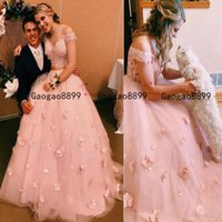 Wholesale bridal neck flower for sale - Group buy 2020 Off Shoulder Two Pieces Floral Pink Lace Wedding Dress with d flower Lace beaded puffy bridal gowns Formal party Dress custom made