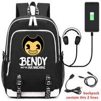 sevimli dizüstü sırt çantaları toptan satış-Diomo Bendy Ve Mürekkep Makinesi Sırt Çantası Usb Şarj Laptop Sırt Çantası Gençler Erkek Seyahat Öğrenci Sırt Çantası Için Sevimli Okul Çantaları Y19061204