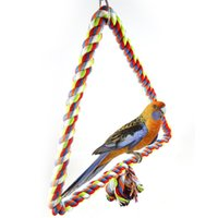 Wholesale rope bird toys for sale - Group buy Colour Cotton Rope Bird Inhabit To Climb Beak Grinding Toys Triangle Cotton Rope Swing Small Tuba