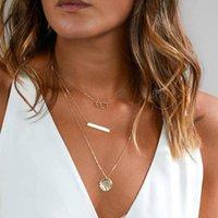 ingrosso y fascini-TOMTOSH 2017 New Fashion Layered Collana girocollo in argento oro per le donne Charm lungo quadrato multistrato Loos Y collana regalo