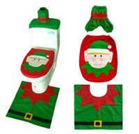 Wholesale rugs sets for sale - Group buy Toilet Seat Covers Christmas Decoration Piece Set Santa Elk Elf Toilet Seat Covers Rug Hotel Bathroom Set Xmas Gift Supplies styles